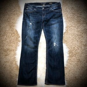 Silver Distressed Pioneer Boot Cut Jeans